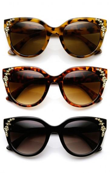 Womens Oversized Flower Adorned Accent Cat Eye Sunglasses
