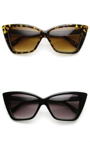Womens Fashion Bold Boxed Frame Mod Cat Eye Sunglasses