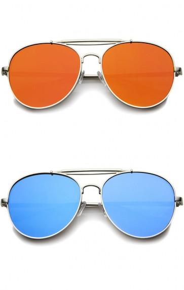 Bold Metal Full Metal Side Cover Frame Crossbar Mirrored Flat Lens Aviator Sunglasses
