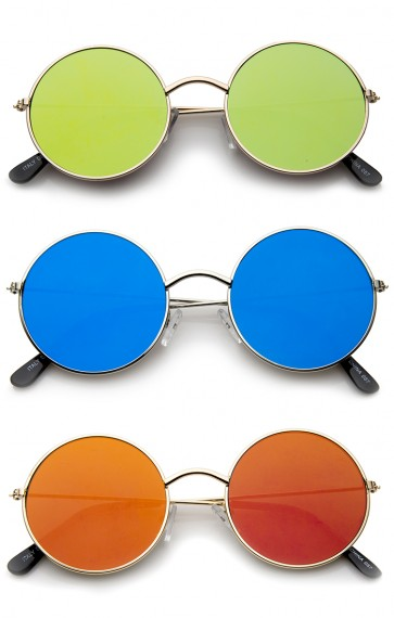 Lennon Style Full Metal Frame Iridescent Mirror Flat Lens Round Sunglasses 48mm