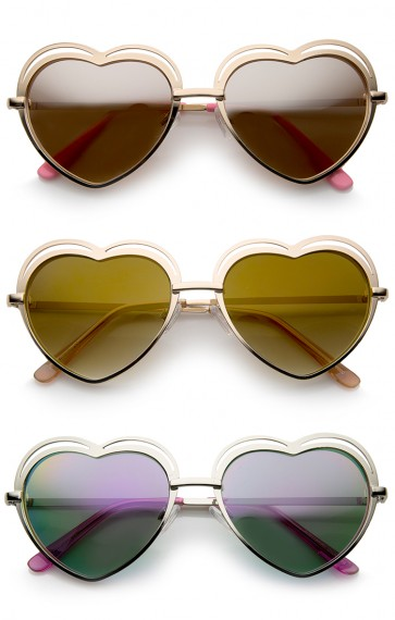 Women's Metal Cutout Frame Thin Temple Cutout Heart Sunglasses 55mm