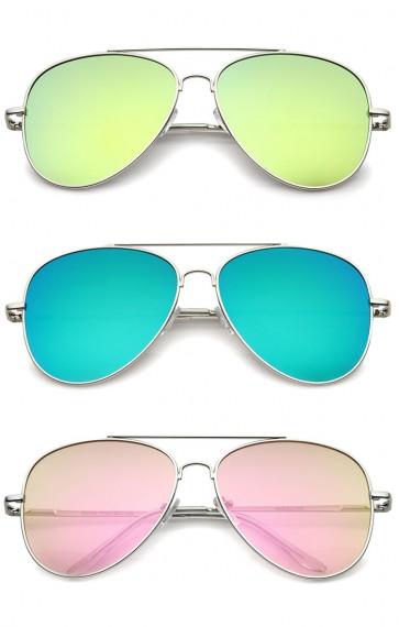 Large Full Metal Color Mirror Teardrop Flat Lens Aviator Sunglasses 60mm