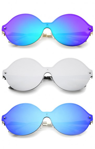 Oversize Round Color Mirror Shield Lens Metal Temple Rimless Sunglasses 69mm