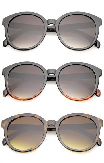 Oversize Horn Rimmed Flat Lens Round Sunglasses 55mm