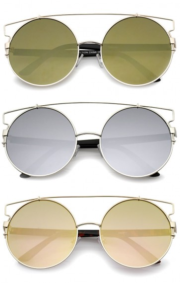 Oversize Metal Frame Horn Rimmed Crossbar Mirror Flat Lens Round Sunglasses 62mm