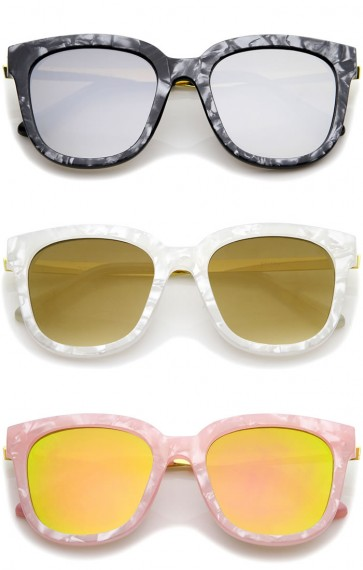 Marble Horn Rimmed Square Mirror Flat Lens Cat Eye Sunglasses 54mm