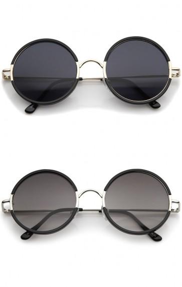 Mid Sized Retro Metal Nose Bridge Slim Temple Round Sunglasses 54mm