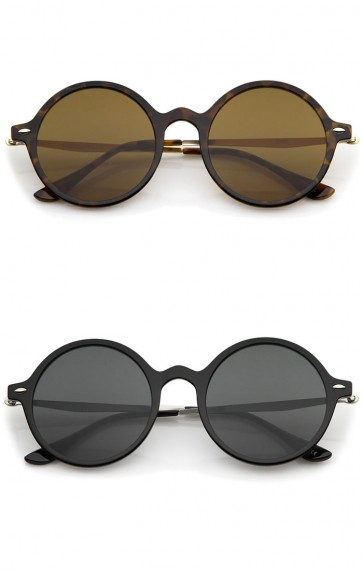 Retro Thin Frame Slim Metal Temples Flat Lens P3 Round Sunglasses 43mm