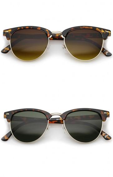 Small Horn Rimmed Metal Nose Bridge Round Lens Half Frame Sunglasses 49mm