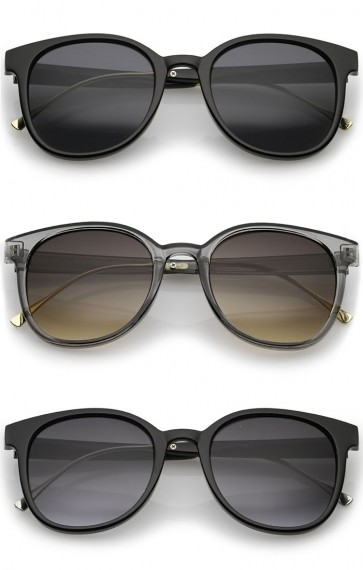 Casual Metal Temple Square Lens Horn Rimmed Sunglasses 52mm