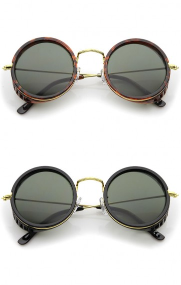 Retro Steampunk Side Cover With Cutouts Thin Metal Temples Round Sunglasses 47mm