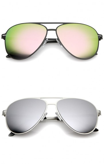 Modern Thin Frame Brow Bar Colored Mirror Lens Aviator Sunglasses 58mm