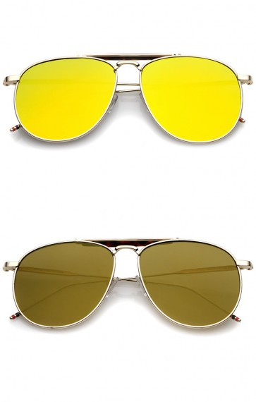 Oversize Metal Double Nose Bridge Slim Temple Colored Mirror Super Flat Lens Aviator Sunglasses 57mm
