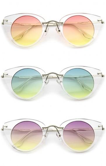 Women's Retro Transparent Frame Round Gradient Lens Cat Eye Sunglasses 45mm