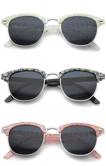 Retro Transparent Daisy Floral Print Half-Frame Horn Rimmed Sunglasses 50mm