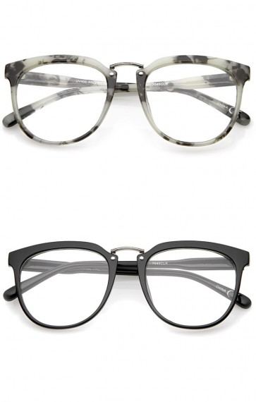 Classic Metal Bridge Square Flat Lens Horn Rimmed Eyeglasses 55mm
