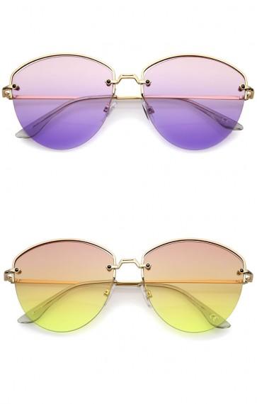 Modern Metal Nose Bridge Gradient Lens Semi-Rimless Sunglasses 60mm