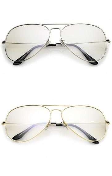 Retro Large Double Nose Bridge Slim Temple Clear Lens Aviator Eyeglasses 61mm