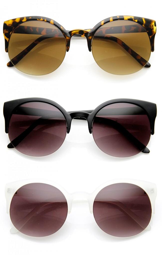 Rimless Glasses Vs Rimmed : Retro Half Frame Semi-Rimless P3 Round Horn Rimmed ...