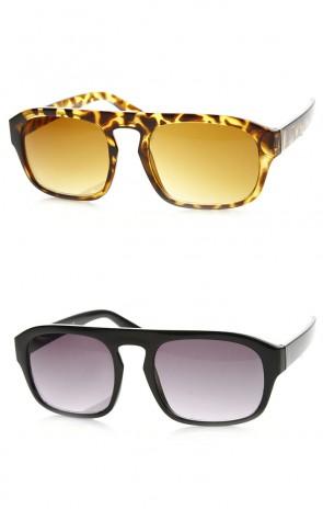 Retro Fashion Keyhole Bridge Bold Frame Flat Top Aviator Sunglasses