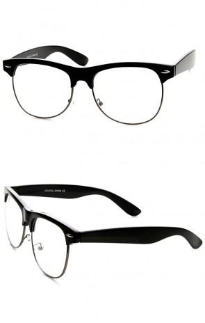 Retro Classic Half Frame Clear Lens Horn Rimmed Eyeglasses