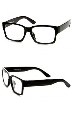 Retro Fashion Bold Thick Modified Rectangular Clear Lens Eyeglasses