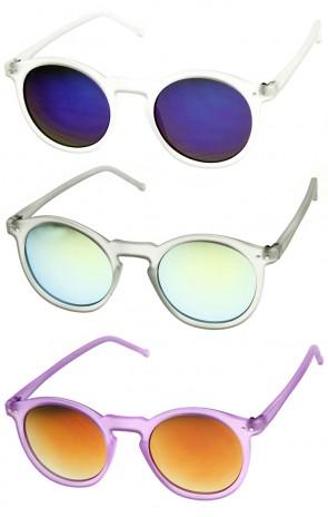 Retro Fashion P3 Frame Color Lens Round Horn Rimmed Sunglasses