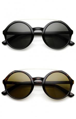 Retro Fashion Metal Crossbar Large Circle Round Sunglasses