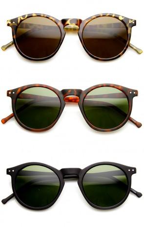 Retro Horned Rim P3 Keyhole Round Horn Rimmed Sunglasses