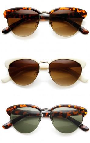 Retro Fashion Semi-Rimless Classic Horn Rimmed Sunglasses