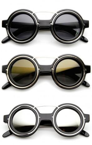 Steampunk Fashion Plastic Metal Circle Round Sunglasses