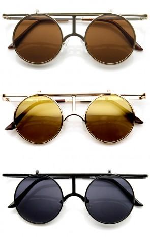Metal Crossbar Flip-Up Lens Retro Circle Round Sunglasses
