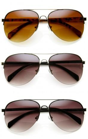 Half-Frame Metal Frame Plastic Temple Aviator Sunglasses