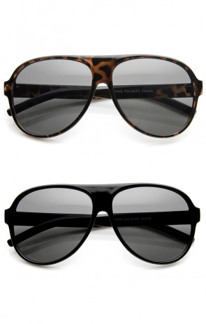 Classic Teardrop Flat Top Plastic Aviator Sunglasses