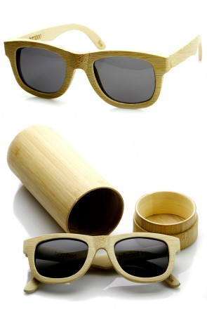 Polarized Genuine Bamboo Wood Horn Rimmed Sunglasses and Case
