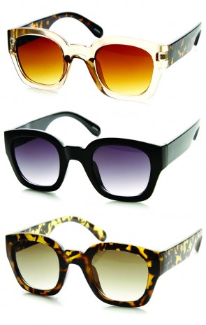 Mod Retro Bold Temple Rounded Block Horn Rimmed Sunglasses