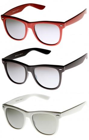 Large Mod Frame Mirrored Lens Retro Horn Rimmed Sunglasses