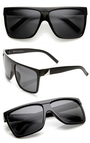 Large Retro Black Square Flat Top Aviator Sunglasses