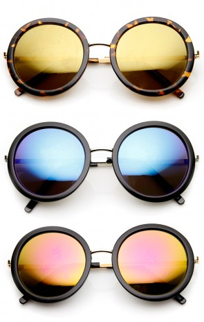 Womens Retro Glam Color Mirror Lens Round Sunglasses