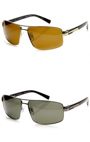 Polarized Premium Quality Modern Square Metal Aviator Sunglasses
