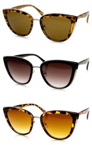 Womens Oversized Fashion Metal Plastic Cat Eye Sunglasses