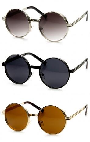 Retro Fashion Bold Steampunk Metal Round Sunglasses