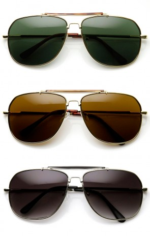 Classic Square Full Metal Frame Crossbar Aviator Sunglasses