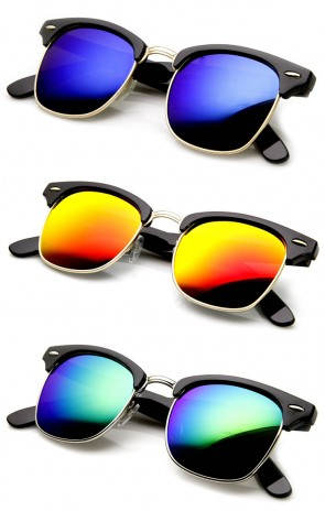Retro Fashion Half Frame Flash Mirror Lens Horn Rimmed Sunglasses