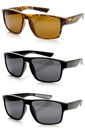 Action Sports Large Wide Temple Keyhole Square Sunglasses