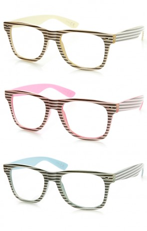 Two-Tone Pastel Striped Clear Lens Horn Rimmed Eye Glasses