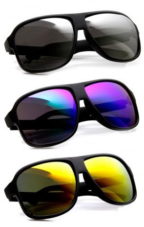 Action Sport Large Matte Black Square Mirror Lens Sunglasses