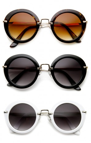 Womens Fashion Retro Oversized Metal Temple Round Sunglasses