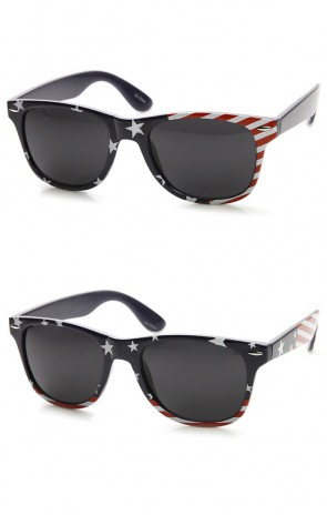 U.S. American Flag USA Stars and Stripes Horn Rimmed Sunglasses
