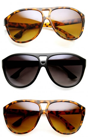 Modern Fashion Oversized Matte Finish Plastic Aviator Sunglasses